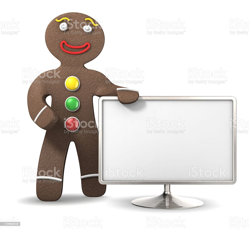 Gingerbread man with sign royalty-free stock photo