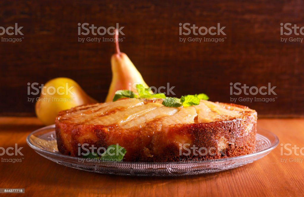 Gingerbread pear upside down cake stock photo