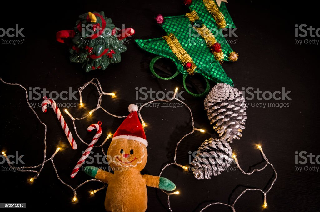 Gingerbread peluche and candy cones stock photo
