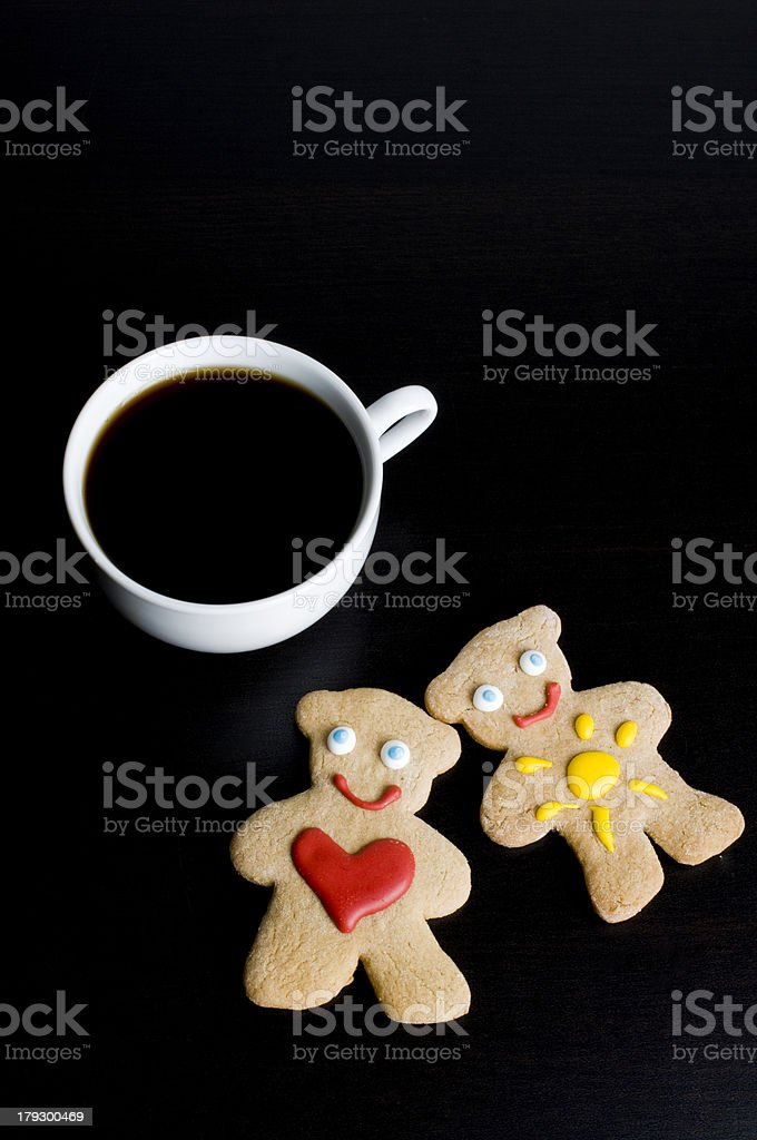 Gingerbread People and Coffee royalty-free stock photo