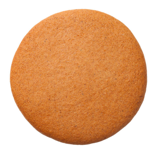 Gingerbread Round Cookie Isolated on White Background Gingerbread round cookie isolated on white background. Top view biscuit stock pictures, royalty-free photos & images