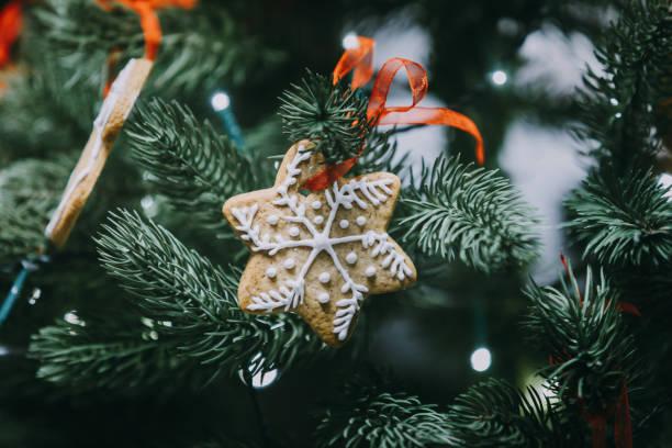 lebkuchen-schneeflocke geschmückter weihnachtsbaum hängen - hausgemachte zuckerplätzchen stock-fotos und bilder