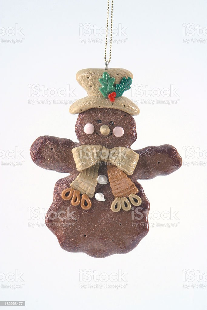 Gingerbread Snowman Christmas Tree Ornament Isolated royalty-free stock photo
