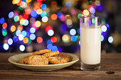 Gingerbread stars cookies and Milk for Santa Claus