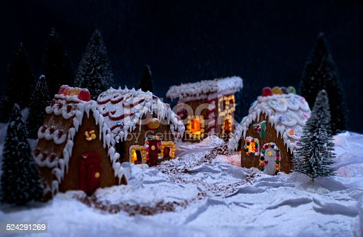 istock Gingerbread Village in the Snow 524291269