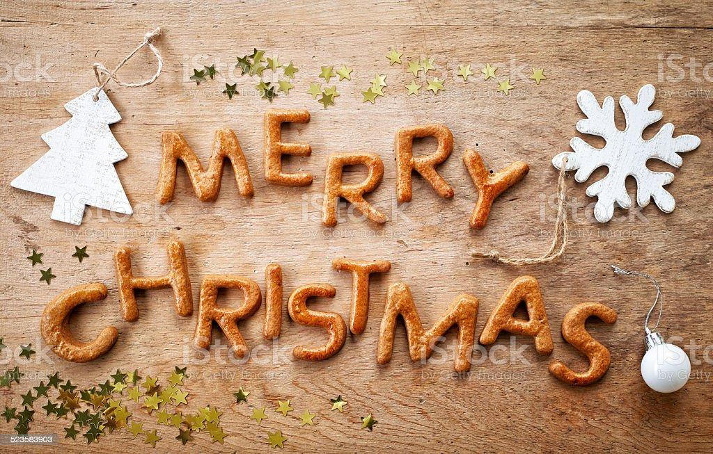 진저브레드 단어 메리 크리스마스 스톡 사진