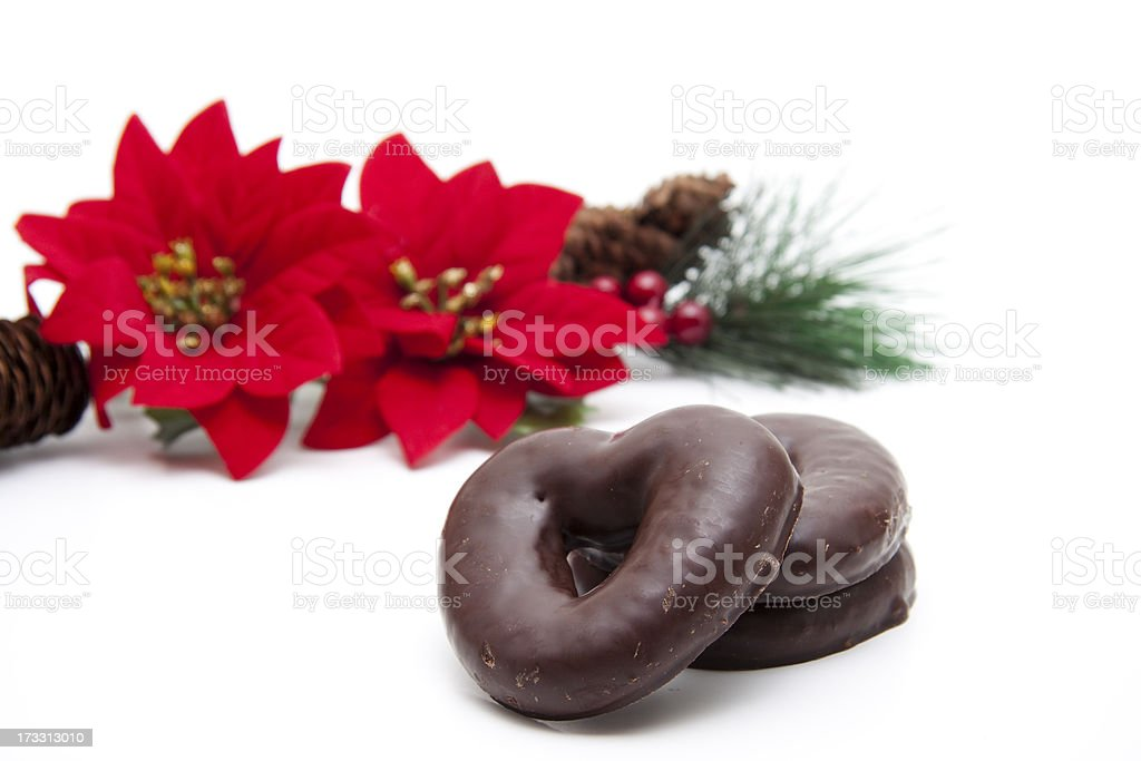 Gingerbreads poinsettia royalty-free stock photo