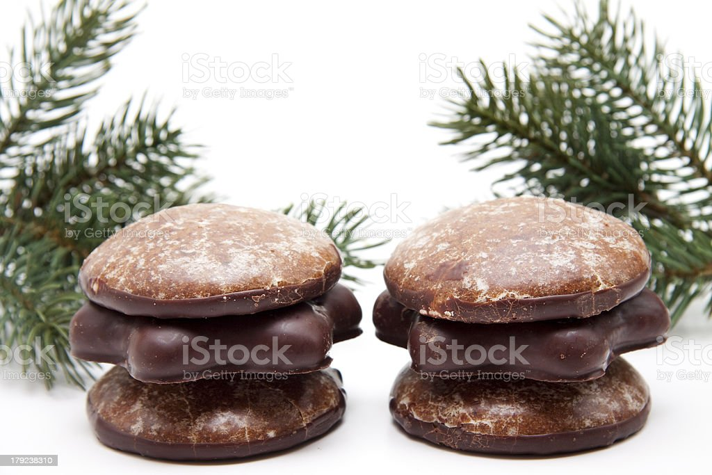 Gingerbreads with fir branches royalty-free stock photo