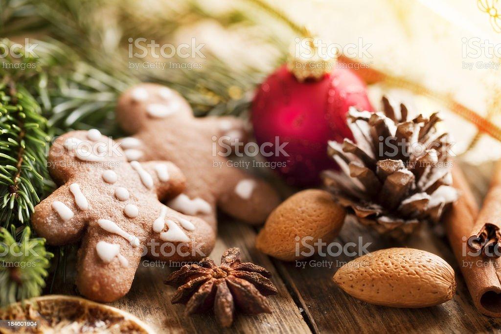 gingerbrerad man pine branch christmas decoration stock photo