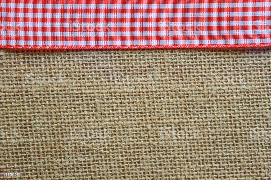 Gingham and jute stock photo
