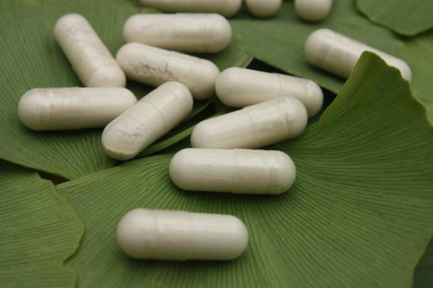 ginkgo biloba - phytothérapie - gélules - feuilles vertes - ginkgo stock-fotos und bilder
