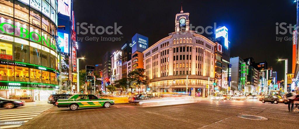 Ginza crossing at night stock photo