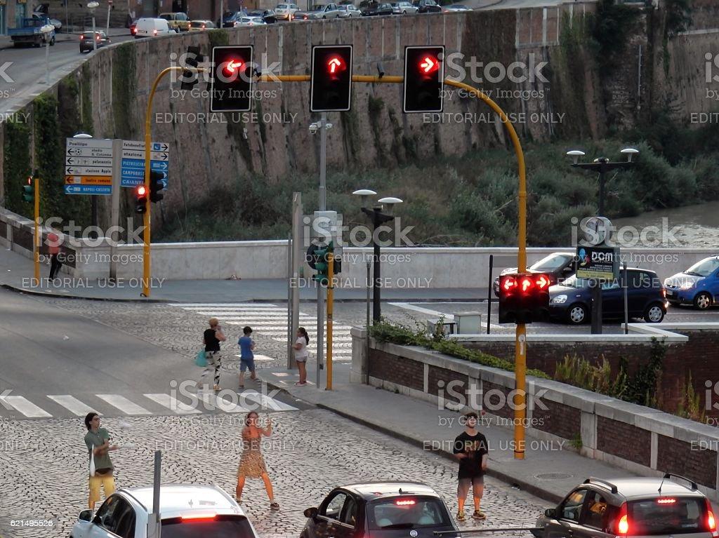 Giocolieri ai semafori foto stock royalty-free