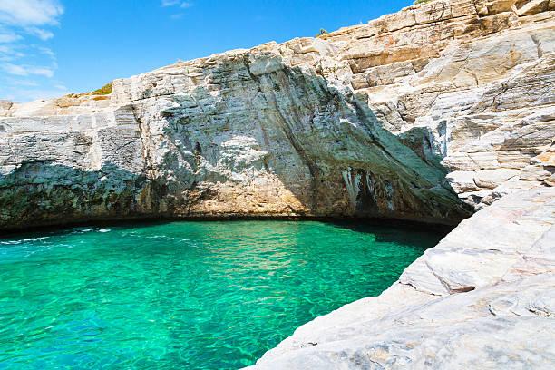 Giola natural sea water pool, Thassos island, Greece stock photo