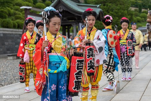 Narita, Japan.  7th Jul 2017.  Young girls in traditional Japanese attire waiting to accompany a float as part of clebrations of the Gion-e festival at Naritasan Shinshoji temple in Narita, Japan.