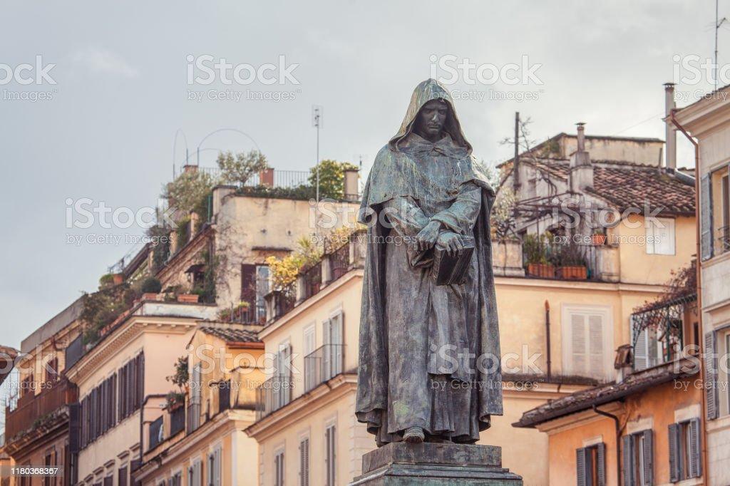 Giordano Bruno statue in Rome Statue of Giordano Bruno erected at Campo de' Fiori in Rome Ancient Stock Photo
