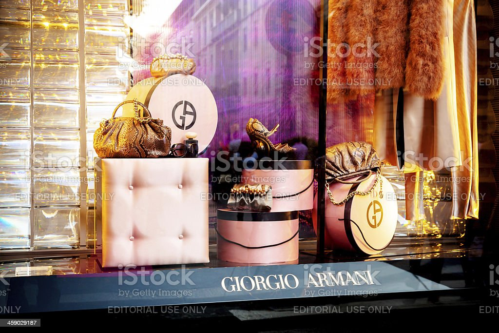 Giorgio Armani window display - Milan, Italy stock photo