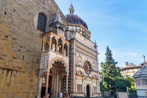 Giovanni da Campione's porch of Santa Maria Maggiore and facade of Cappella Colleoni in Bergamo. Italy