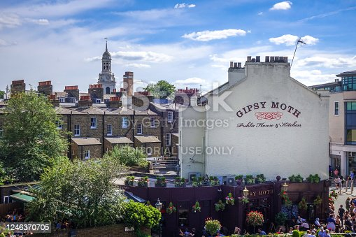 London/UK - June 3, 2017 - Gipsy Moth restaurant and Greewitch view