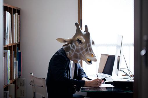 istock Giraffe head man working from home 913359038
