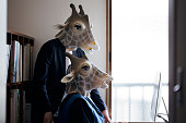 Man and woman wearing giraffe masks working on desktop pc together at home office.
