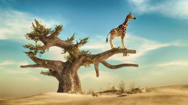 Giraffe standing on a tree. 3d render illustration stock photo