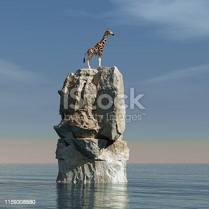 istock Giraffe stucked on a rock in the middle of the ocean 3d render 1159308880