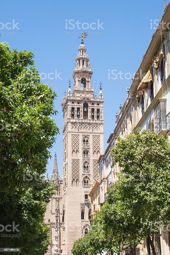 Giralda belfry, Cathedral of Santa Maria (Seville - Spain) stock photo
