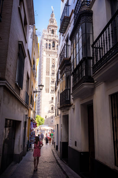 Giralda bell tower of Seville Cathedral in Seville, Spain stock photo