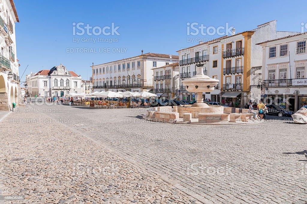 Giraldo Square in center of Evora stock photo