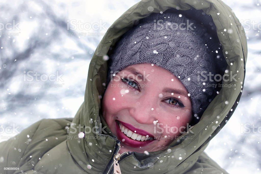 girl adult portrait winter stock photo