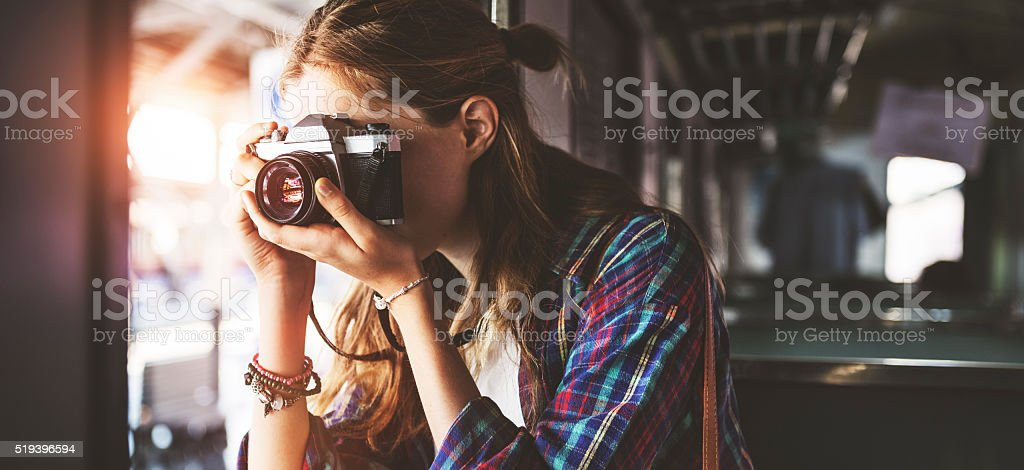 Girl Adventure Hangout Traveling Holiday Photography Concept stock photo