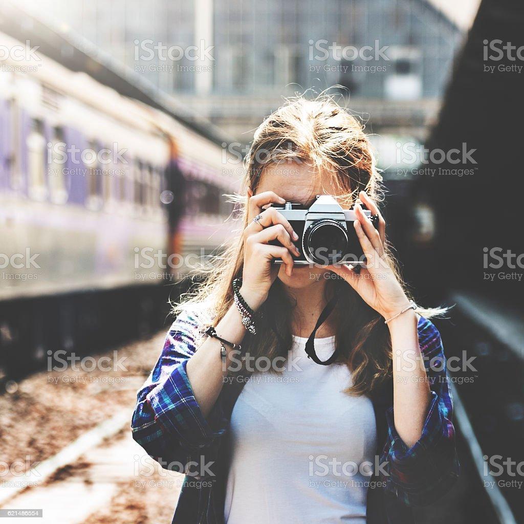 Mädchen Abenteuer Treffpunkt Konzept auf Reisen-Urlaub-Fotografie Lizenzfreies stock-foto