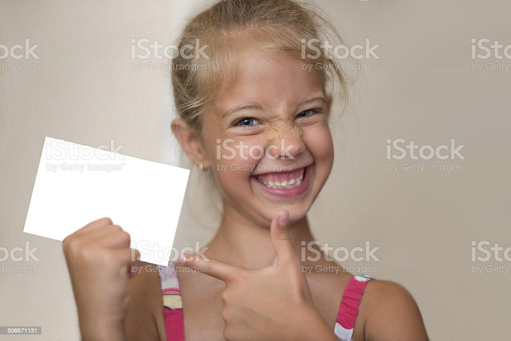 Girl advertising stock photo
