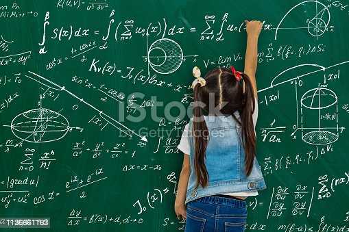 istock Girl against big board with formulas, back view 1136661163