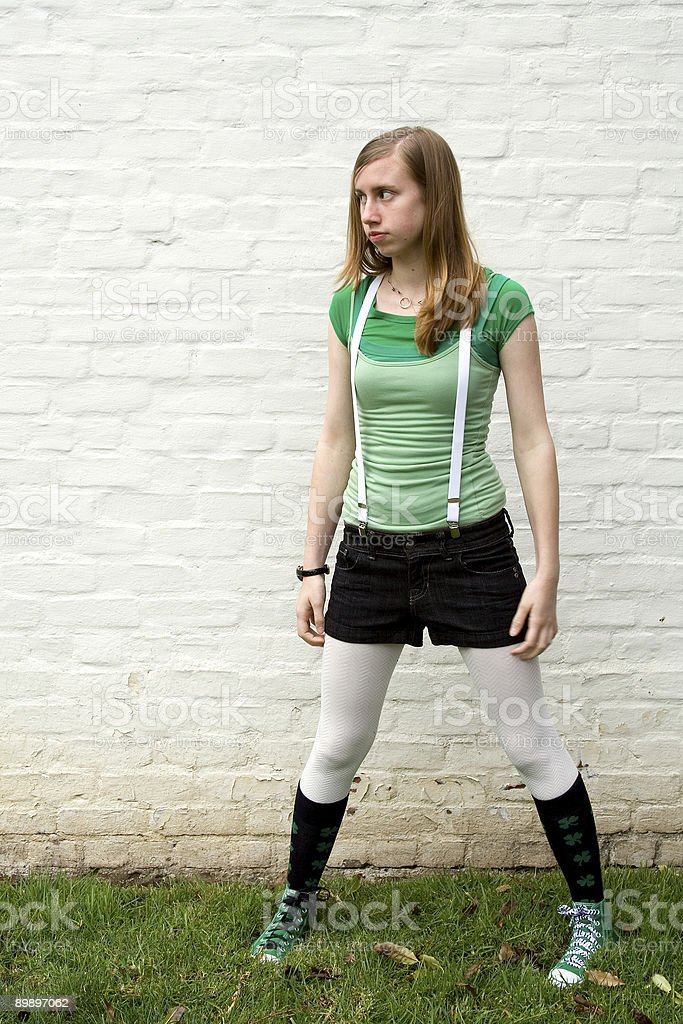 Girl Against Wall 2 royalty-free stock photo
