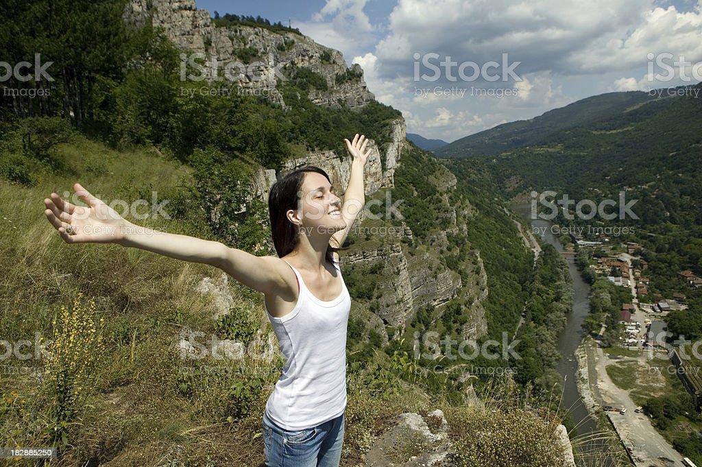 Girl among nature stock photo