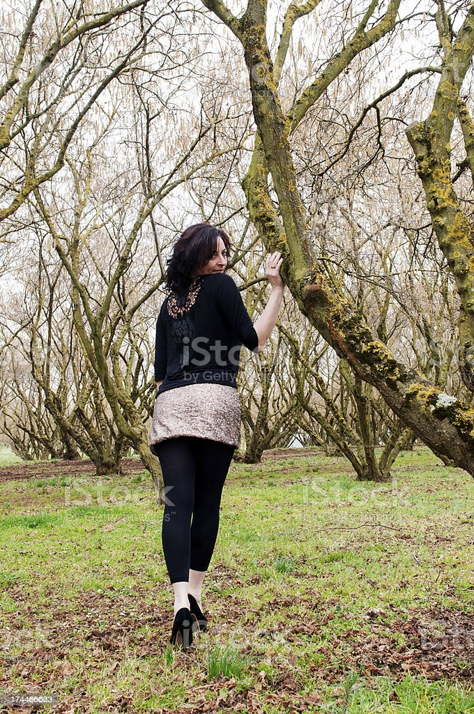 Girl among the kernels royalty-free stock photo