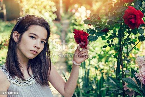623358818 istock photo Girl among the rose bushes 477440914
