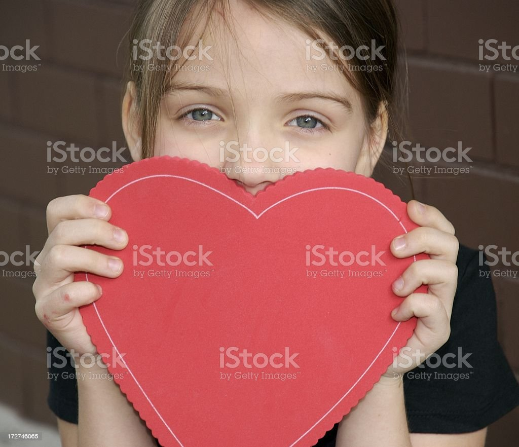 Girl and a Heart royalty-free stock photo
