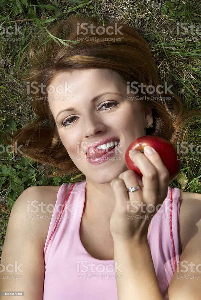 girl and apple royalty-free stock photo