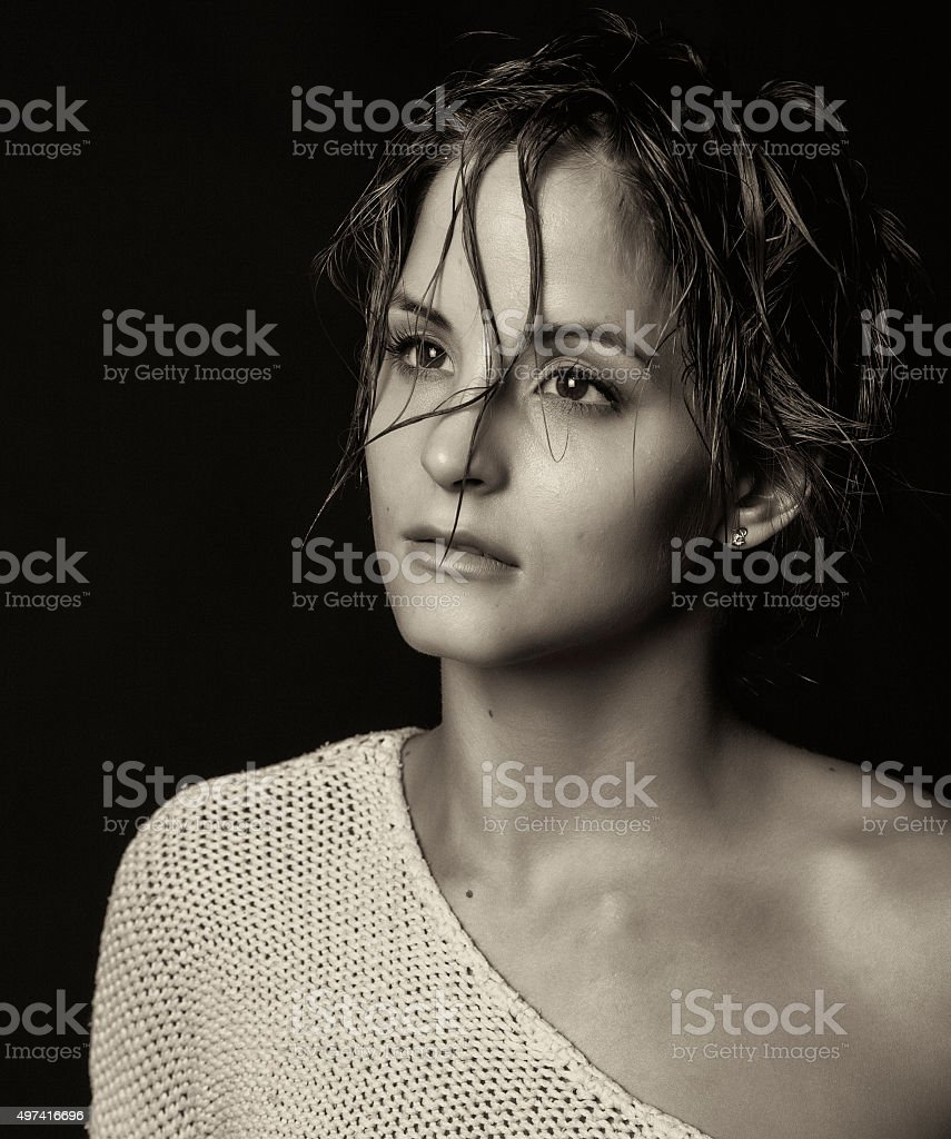 Girl and black background stock photo