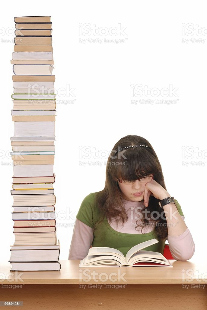 Girl and Books - Royalty-free Book Stock Photo