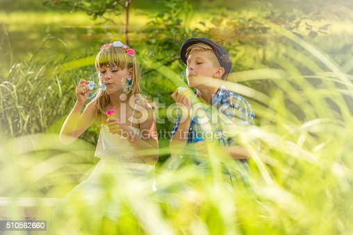 618034312 istock photo Girl and boy blowing soap bubbles in nature 510562660