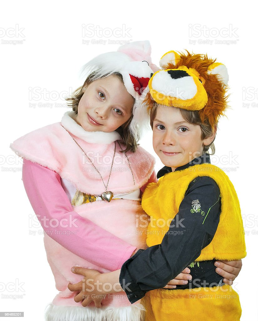 Girl and boy play royalty-free stock photo