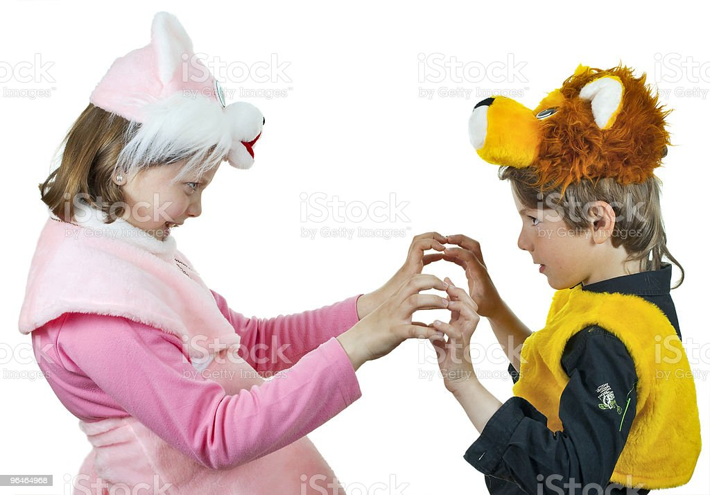 Girl and boy play together royalty-free stock photo