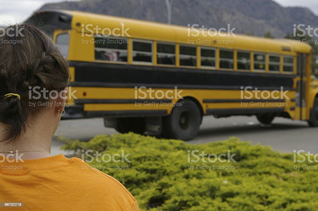 Girl and Bus royalty-free stock photo
