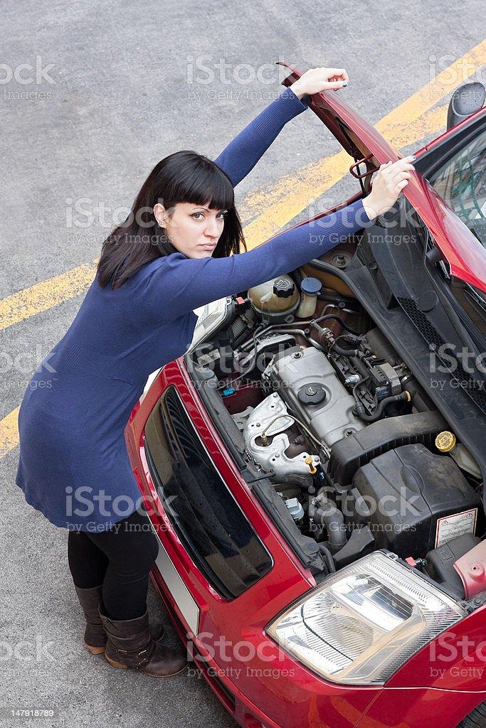 Girl and car breakdown (1) stock photo