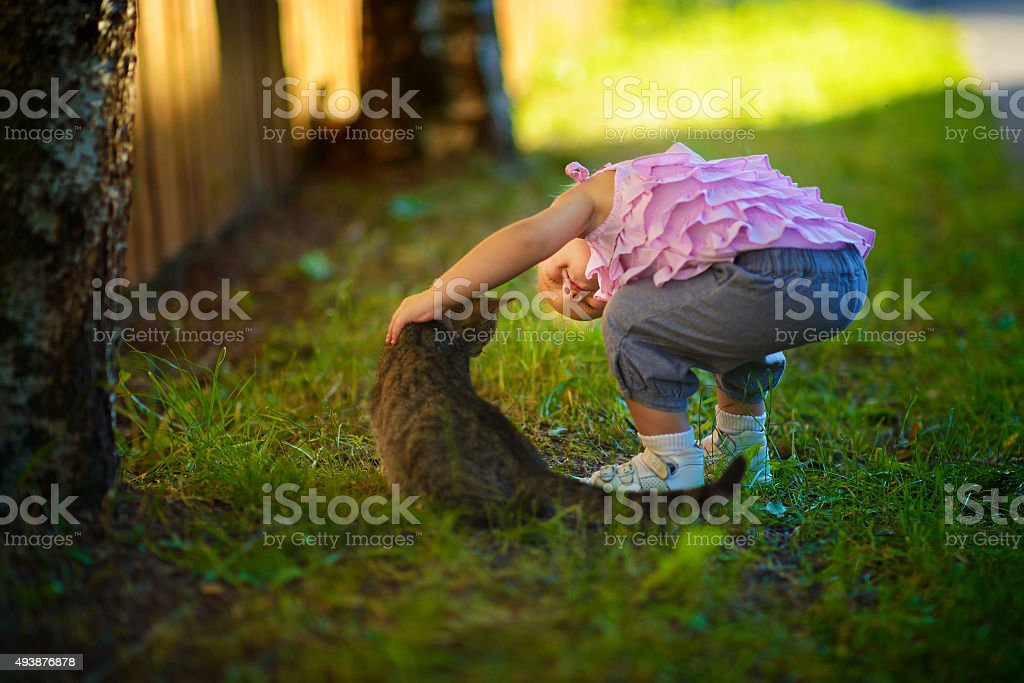 Girl and cat in the country stock photo