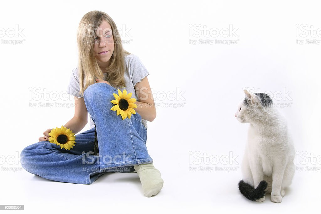 Girl And Cat royalty-free stock photo